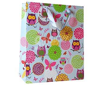 AUCHAN Bolsa para regalos con estampado de buhos, 33x46x10 centímetros 1 unidad