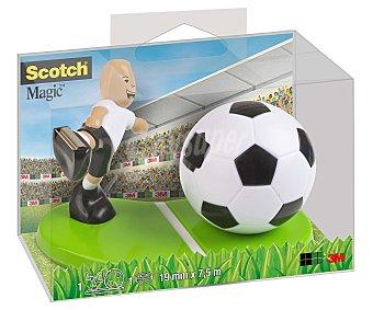 3M Dispensador de cinta adhesiva con la forma de un campo de futbol y un futbolista con su balón, que además incluye 1 rollo de cinta mágica de 7.5 metros x 19 milímetros 1 unidad