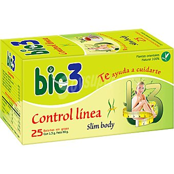 BIO3 Control Línea Slym Body Infusión de plantas naturales control de peso envase 25 sobres