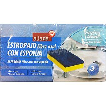 Aliada Estropajo fibra azul con esponja no raya Envase 3 unidades