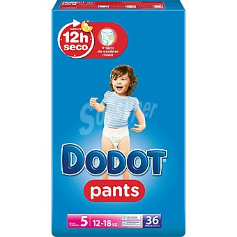 DODOT Pants Pañal & braguita unisex de 12 a 18 kg talla 5 paquete 36 unidades 5 paquete 36 unidades