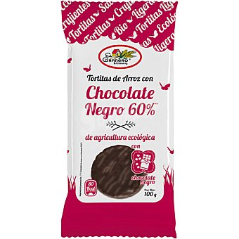 EL GRANERO tortitas de arroz con chocolate negro ecológicas envase 100 g