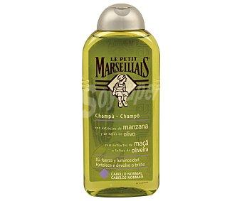 Le Petit Marseillais Champú con extractos de manzana y de hojas de olivo frasco 300 ml da fuerza y luminosidad para cabello normal Frasco 300 ml