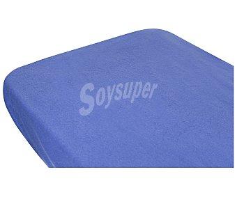 Auchan Sábana bajera ajustable de pirineo 100% poliéster, color azul, 90 centímetros AUCHAN.