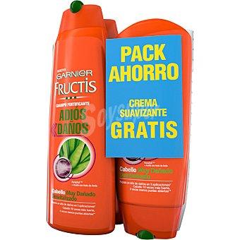Fructis Garnier Champú fortificante Adios Daños 2 frascos de 300 ml