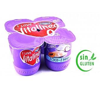 Vitalínea Danone Yogur sabor coco papaya danone Pack 4x125 grs
