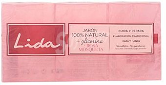 LIDA Jabón pastilla rosa mosqueta 3x125 gr