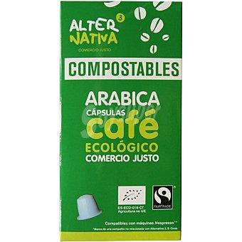 Alternativa 3 Café arábica ecológico estuche 10 cápsulas compostables y compatibles con máquinas Nespresso estuche 10 cápsulas