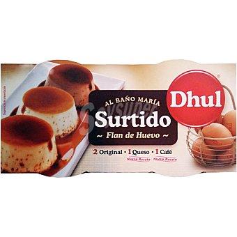 DHUL Surtido de flan de huevo 2 original 1 de queso y 1 de café al baño María pack 4 unds. 110 g