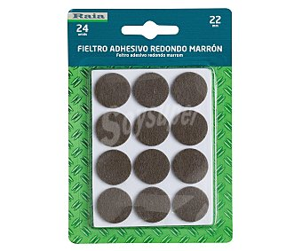 RAIA Fieltro Adhesivo Redondo Doble, Marrón, Diámetro 22 Milímetros y Grosor de 3 Milímetros 1 Unidad