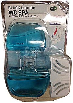 Bosque Verde Block liquido wc completo + un recambio spa Pack 2 x 55 cc - 110 cc + UN soporte
