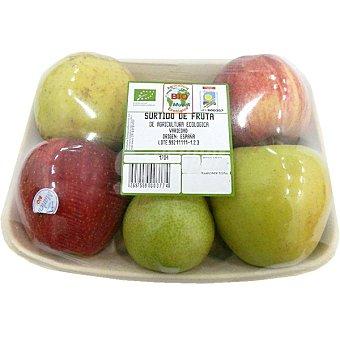 Surtido de frutas ecológicas 4 manzanas + 2 peras peso aproximado Bandeja 900 g