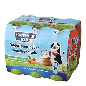 Carrefour Kids Yogur líquido semidesnatado con zumo de frutas 6 unidades de 100 g