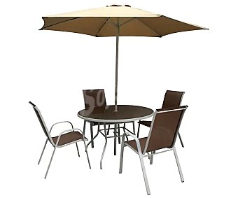 Garden Star Conjunto de jardín con mesa 120 cm, sillas y parasol 270 cm alcampo