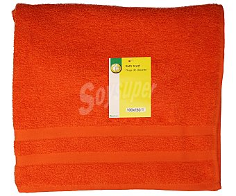 Productos Económicos Alcampo Toalla de baño color naranja, 100x130 centímetros. Toallas 100% algodón y densidad de 360 gramos/m² 1 unidad