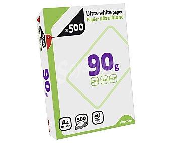 Auchan Paquete de 500 hojas de papel ultra-blanco tamaño folio de 90 gramos 1 unidad