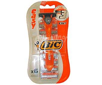 Bic Maquinilla de afeitar desechable, triple hoja 6 unidades
