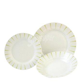 Vajilla 18 piezas porcelana decorada Mod. PUNTITOS VERDES 1 ud