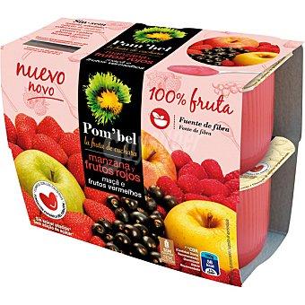 Pom'Bel Compota de manzana y frutos rojos 100% fruta pack 4 tarrina 100 g pack 4 tarrina 100 g