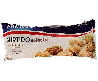 Maheso Surtido de pan de 4 cereales, cebolla, pasas y nueces y aceitunas 310 gramos