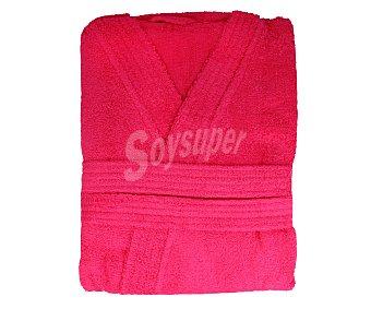 Productos Económicos Alcampo Albornoz para adulto, rizo 100% algodón color rosa fucsia, 340 gramos/m², talla S-M 1 unidad 1 unidad