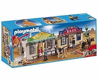 PLAYMOBIL Playset Ciudad del Oeste en maletín, incluye 3 figuras, 2 caballos y accesorios, modelo 4398 Western 1 unidad