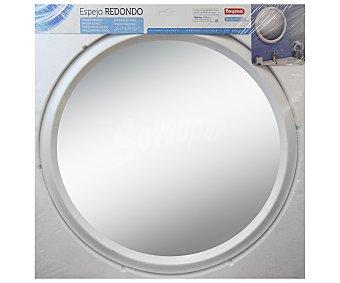 TOYMA Espejo redondo de 60 centímetros, de vidrio púlido de 3 milímetros de grosor y color blanco 1 Unidad