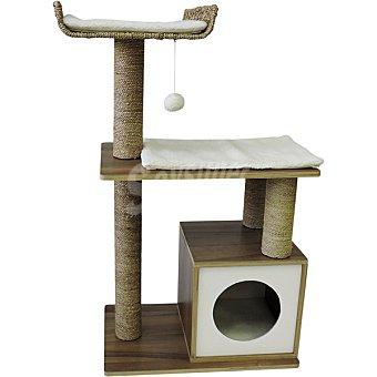 Fred & Rita Rascador para gatos de madera con borrego varias alturas 1 unidad 1 unidad