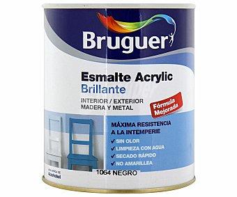 BRUGUER Esmalte decorativo acrílico, de color negro y acabado brillante 0,75 litros
