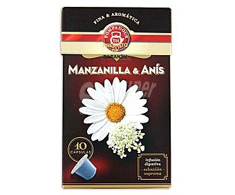 Pompadour Manzanilla con anís, compatible con máquinas de café Nespresso Estuche 10 cápsulas de 15 g