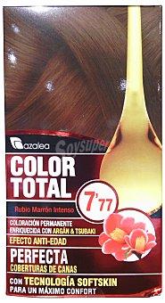 AZALEA Tinte coloración permanente color total Nº7.77 rubio marrón intenso (enriquecido con aceite argán y tsubaki) u