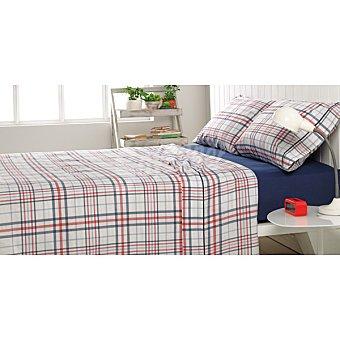CASACTUAL Escocesa Juego de cama con bajera en azul para cama 90 cm
