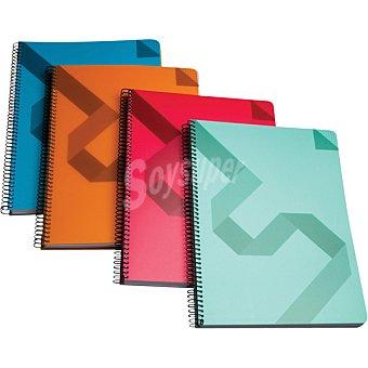Hipercor cuaderno con espiral de tapa polipropileno + cartulina tamaño folio en colores surtidos 74025 1 unidad