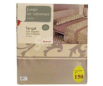 Auchan Juego de sábanas etampadas, modelo Robledo en tonos bisón para cama de 150 centímetros, 1 unidad
