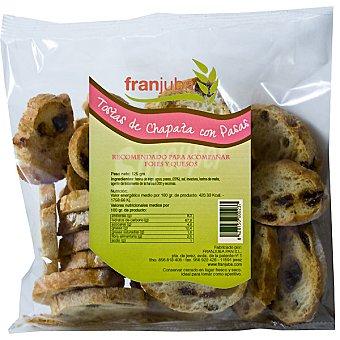 Franjuba Tostas de chapata con pasas para acompañar foies y quesos Bolsa 125 g
