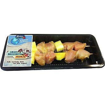 ROLER brocheta tropical de pollo bandeja 250 g peso aproximado 2 unidades