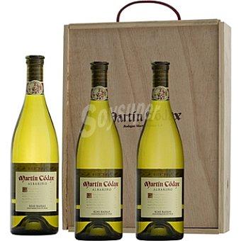 Martín Códax Vino blanco albariño D.O. Rias Baixas caja de madera 3 botellas 75 cl