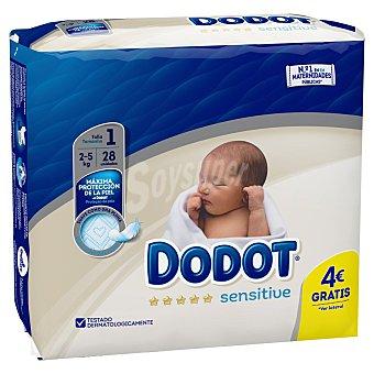 Dodot Sensitive pañales recién nacido 2-5 kg talla 1 Paquete 30 u