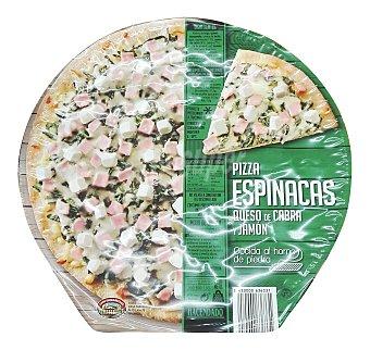 Hacendado Pizza congelada espinacas con queso cabra y jamón 380 g