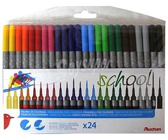 Auchan Caja de 24 rotuladores con dos puntas, 1 gruesa y 1 media, lavables y de diferentes colores 1 unidad
