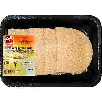LOS SAN FERMINES Medias lunas de york y queso 4-5 unidades sin gluten peso aproximado bandeja 450 g 4-5 unidades