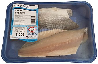 Caladero Lubina fresca filete Bandeja 400 g peso aprox.