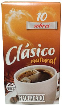 Hacendado Cafe soluble natural clásico Pack de 10x20 gr