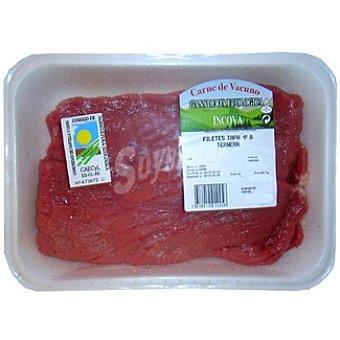 INCOVA Ternera ecológica filetes de tapa 1ª A 2-3 unidades peso aproximado bandeja 350 g 2-3 unidades