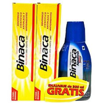 Binaca Dentífrico amarillo Pack 2 unid. + Regalo