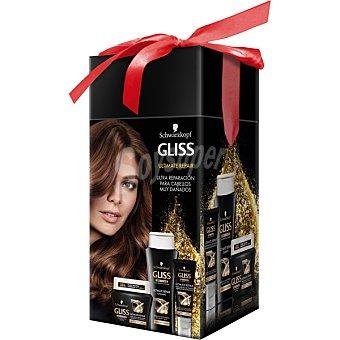 Gliss Schwarzkopf Hair Repair pack Ultimate Repair con champú + mascarilla + tratamiento de puntas para cabellos muy dañados estuche 1 unidad