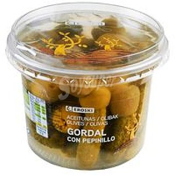 Eroski Aceitunas gordal con pepinillo Tarrina 250 g
