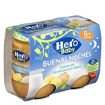 Hero Baby Buenas Noches Tarrito de crema de verduras con rape, a partir de 8 meses Pack 2 tarritos x 190 g