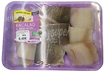 Caladero Bacalao descongelado al punto de sal filetes y trozos Bandeja 1 kg peso aprox.