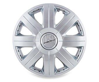 """GOODYEAR Juego de 4 tapacubos modelo Flexo 20 para ruedas de 14"""", de color plata y diseño robusto y plano con aspecto de llanta de aleación Juego 4 tapacubos 14"""""""